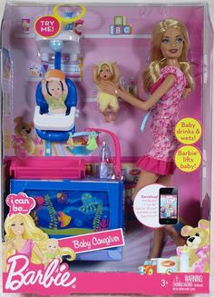 Caregiver - Nanny - Mommy - Babysitter Barbie is responsible as she cares for her little bundle of joy! New Barbie Dolls, Baby Barbie, Doll Clothes Barbie, Barbie Toys, Beautiful Barbie Dolls, Barbie Dream, Barbie Stuff, Baby Dolls, Mermaid Toys