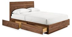 Hudson Bed with Storage Drawers - Beds - Bedroom - Room & Board -- king size is $3099 in walnut, if we have to replace our bed in the house