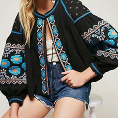 Boho floral embroidered tassel lantern long sleeve loose casual tops jacket
