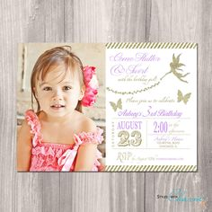 Fairy Birthday Invitation, Tinkerbell Invitation, Fairy Invitation, Butterfly Invitation, Fairy Princess Party, Printable Invite by StyleswithCharm on Etsy https://www.etsy.com/listing/227350438/fairy-birthday-invitation-tinkerbell