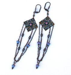 Long Brass Earrings Vintage Filigree Czech by PrettyLittleThorn