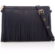 2348cbd3547 London Velvet - Midnight Blue Fringe Clutch (530 CAD) ❤ liked on Polyvore  featuring