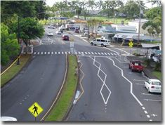 """On the island of Hawaii:  """"Zigzag lines are painted on the street at busy intersections and in school zones to get motorists' attention to slow down, making our streets and highways safer for everyone. Bold stripes like shark's teeth are painted on blind curves""""  - photo from traffic.hawaiicounty.gov"""