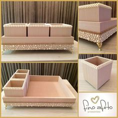 Luxury makeup tray with MDF brush holder- ? Luxuosa bandeja para maquiagem com porta pinc?is em MDF, revestimento e? Luxury makeup tray with MDF brush holder, lining and ? Makeup Tray, Diy Makeup, Make Up Doos, Balcony Chairs, Diy Casa, Easy Home Decor, Beauty Room, Decoupage, Diy And Crafts