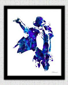 Michael Jackson print, Michael Jackson art print, Michael Jackson silhouette, music, Michael Jackson painting print