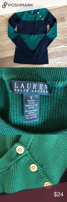 Lauren Ralph Lauren striped sweater Ralph Lauren striped sweater for women, it is dark green and navy stripes  Worn twice Like new Comes from a no pet and no smoking home Thick sweater material Lauren Ralph Lauren Sweaters Crew & Scoop Necks