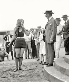 Eva Fridell, winner of a beauty contest at Washington Bathing Beach, Washington, DC, 5th August 1922