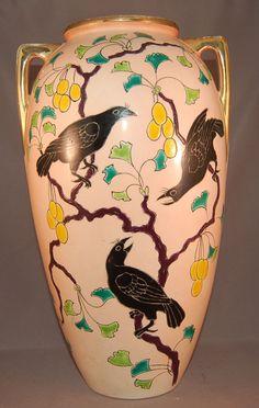 Unusual Art Deco Raven Raised Enamel Large Royal Nippon Bird Vase Fabulous   eBay