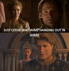 Lol. All I think of when I see Jaime in season 1 of Game of Thrones is that he looks like Charming from Shrek 2.