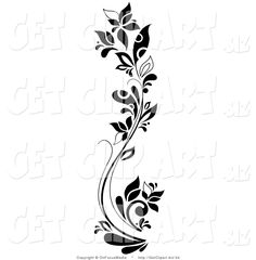 clip art black and white   Clip Art of a Black and White Curving Tall Flowering Plant by ...