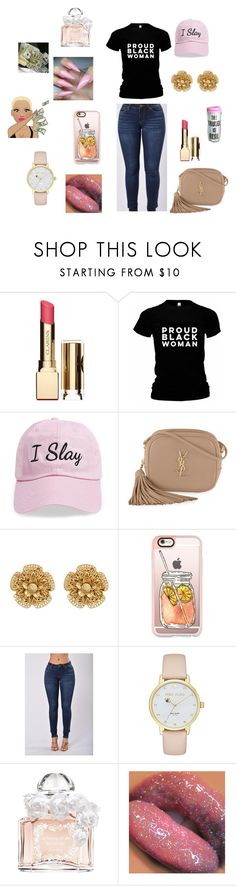 """Untitled #126"" by queenraina1 on Polyvore featuring Clarins, Steve Madden, Yves Saint Laurent, Miriam Haskell, Casetify, Kate Spade and Guerlain"