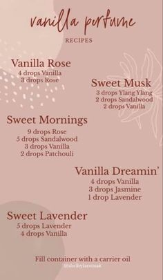 Vanilla Essential Oil, Yl Essential Oils, Essential Oil Perfume, Perfume Oils, Young Living Essential Oils, Essential Oil Blends, Vanilla Perfume, Aromatherapy Recipes, Young Living Oils