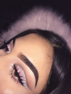 baby pink eye glitter cut crease wing colourful makeup glitter makeup - Prom Makeup For Brown Eyes Glam Makeup, Skin Makeup, Eyeshadow Makeup, Beauty Makeup, Glitter Eyeshadow, Eyeshadow Palette, Cut Crease Glitter, Silver Glitter Eye Makeup, Mime Makeup