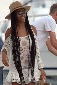 """Blog: """"Is Solange Knowles' Crochet Mini Dress the Perfect Cover-Up or What?"""" (It's not real crochet, but the hat is!)"""