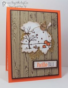 handmade card from a challenge from The Paper Players ... Autumn theme ... scene on a die cut leaf ... stamped wood grain ... Stampin' Up!