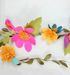 Easy spring paper flower garland (free template) // Egyszerű tavaszi virág füzér papírból ( nyomtatható sablonnal ) // Mindy - craft tutorial collection