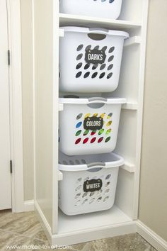 DIY Laundry Basket Organizer is part of Basket Organization Bedroom - DIY Laundry Basket Organizer Organize your home, or small spaces Tips, tricks and easy DIY ideas for storage on a budget Laundry Basket Organization, Laundry Room Storage, Laundry Room Design, Home Organization, Basement Laundry, Garage Storage, Ikea Laundry, Bathroom Laundry, Clothing Organization