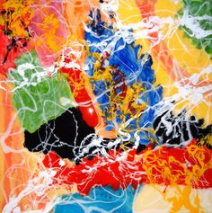 Frolic, 2' x 2', one of four  Bright primary colors, abstract, fun