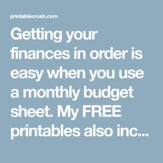 Getting your finances in order is easy when you use a monthly budget sheet. My FREE printables also includes expense sheets so you can easily keep track of your money! Printable Budget Sheets, Monthly Budget Sheet, Monthly Budget Worksheet, Budgeting Worksheets, Happy Planner, Free Printables, Finance, Track, Easy