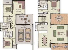 Small 4 Bedroom House Plans Unique Duplex Small House Floor Plans with 3 or 4 Bedrooms Narrow House Plans, Small House Floor Plans, Beach House Plans, Joseph Eichler, The Plan, How To Plan, Double Story House, Two Story House Plans, Hotondo Homes