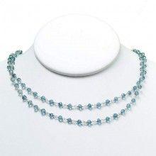 Indigo Blue Quartz & Sterling Silver Handwired Wrapped Necklace www.jewelya.com