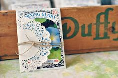sweet party favor idea: seed packets wrapped with doily and twine