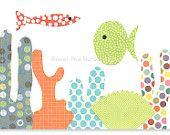 Poisson Nursery Wall Art Ocean mer vie Marine colorée pour enfants décor poisson corail 5 x 7 toile ou papier Impression bébé douche cadeau salle de jeux