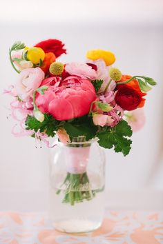 This peony and ranunculus bouquet is just lovely.