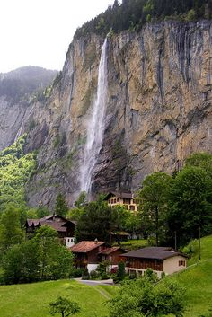 STAUBBACH FALLS Waterfall in SWITZERLAND located just above Lauterbrunnen in the Bernese Oberland .The waterfall drops about 300 meters (1000ft) from a hanging valley that ends in overhanging cliffs  above Lütschine River.