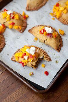 Caribbean Empanadas with Mango Salsa (vegan, gluten-free) Vegan Empanada Recipe, Empanadas Recipe, Vegan Sweet Potato Recipes, Vegan Recipes, Tortillas, Vegan Apps, Vegan Appetizers, Mango Salsa, Latin Food