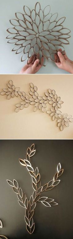 wall art from toilet paper rolls Toilet Paper Roll Art, Rolled Paper Art, Toilet Paper Roll Crafts, Diy Paper, Deco Table Noel, Diy And Crafts, Arts And Crafts, Creation Deco, Diy Wall