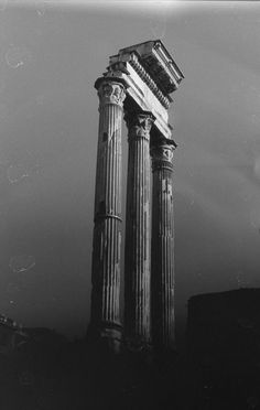 """ Temple of Castor and Pollux "" Architecture Tattoo, Architecture Details, Roman Architecture, Architecture Classique, Greek Statues, Ancient Greek Architecture, Bw Photography, Greek Art, Greek Mythology"