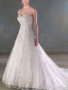 A-Line Sweetheart No Waist/Princess Seams Wedding Dresses