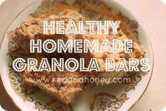 Healthy Homemade Granola Bars - this one truly is healthy, with almond butter, raw honey and coconut oil