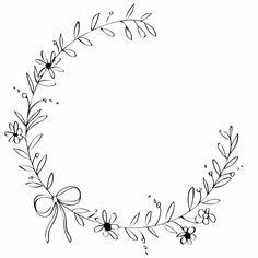 Flower wreath ribbon pretty design