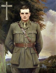 Portrait of Henry Colt Arthur Hoare (1888–1917) c.1917/18 by St George Hare (Irish 1857–1933).....died at age 29, from wounds received in action during WW!......the word Kismet is carved into the tree......