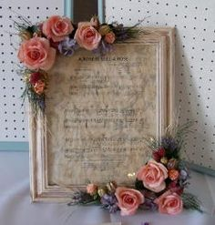 Rose Framed Music Sheet (frame a meaningful piece of music, wedding song, etc.), Shabby Chic Craft