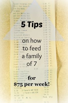 5 Tips on How To Feed A Family of 7 for Just $75 a Week! Plus Free Printable Meal Planning Guide Worksheet!    happydealhappyday.com