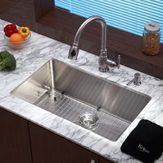 Buy the Kraus Stainless Steel Direct. Shop for the Kraus Stainless Steel Kitchen Combo - Undermount Single Bowl 16 Gauge Stainless Steel Kitchen Sink with Pullout Spray Kitchen Faucet and Soap Dispenser and save. Best Kitchen Sinks, Single Bowl Kitchen Sink, New Kitchen Cabinets, Kitchen Sink Faucets, Kitchen Redo, Kitchen Flooring, Cool Kitchens, Bar Sinks, Kitchen Ideas