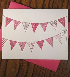 5. Hand drawn bunting in pink
