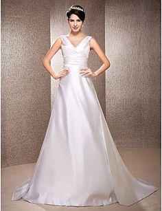 A-line V-neck Sweep/Brush Train Satin Wedding Dress