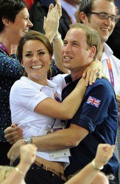 Joyous moment: William and Kate celebrating the gold last night
