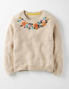 Harvest Yoke Sweater 91390 Knitwear at Boden Embroidery On Clothes, Embroidered Clothes, Sweater Embroidery, Girl Outfits, Cute Outfits, Jumper Outfit, Winter Kids, Baby Boy Fashion, Pullover