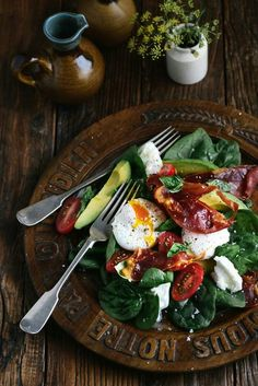 Feta avocado eggs  tomatoes with romaine salad