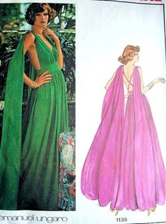 1970s Gorgeous Ungaro Evening Gown Pattern Vogue Paris Original 1135 Plunging V Neckline, Strappy Back With Goddess Floating Shoulder Panels Amazing Design Bust 34 Vintage Sewing Pattern UNCUT