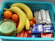 self-serve toddler basket in the fridge for snack time! easy way for them to feel independent picking out their own food.