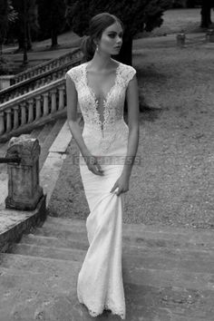 Sheath Plunging Lace Capped Sleeves Buttons Wedding Dress