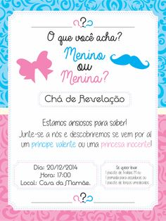 convite cha de revelação Moldes Para Baby Shower, Idee Baby Shower, Baby Gender Reveal Party, Baby Shawer, Baby Mickey, Cute Disney Wallpaper, Reveal Parties, Baby Party, Diy And Crafts