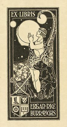Bookplate of Edgar Rice Burroughs showing Tarzan holding the planet Mars, surrounded by other characters from Burroughs' stories and symbols relating to his personal interests and career