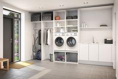 Svane / Bryggers med praktiske vasketøjskurve til nem håndtering og sortering – det letter din hverdag.